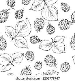 Seamless pattern in monochrome colors with raspberry, cherry and grenade berries