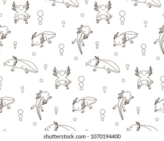 Seamless pattern with monochrome contour axolotl in different poses