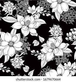 Seamless pattern with  monochrome graphic flowers for textile design. Vector.