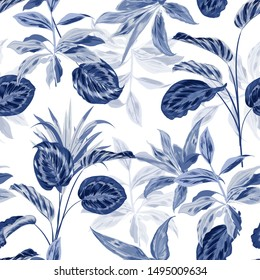 Seamless pattern monotone blue tropical in the forest unique design in vector for fashion, fabric, wallpaper , wrapping , and all prints on white background color