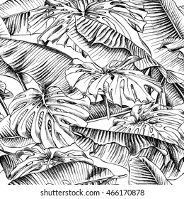 Seamless pattern with a Monstera and Banana leaves. Vector black and white illustration.