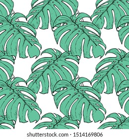 Seamless pattern with monstera sheets.