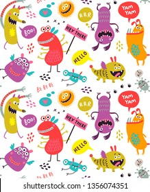 Seamless pattern with monsters