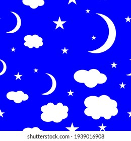 Seamless pattern with moon, clouds and stars. Night sky space cosmos textured vector background in white and blue. EPS 10.