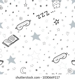 Seamless pattern with moon and stars sleeping bedtime elements sleeping mask book clock cup of tea doodle