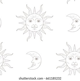 Seamless pattern. Moon and sun.