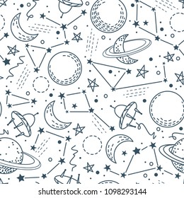 A seamless pattern with moons, planets, stars, constellations and spaceships. Ideal template for printing on children's clothing, dishes, fabrics, wallpaper, packaging, paper and other surfaces.