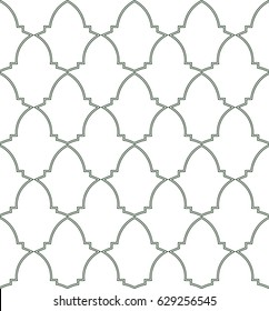 Seamless pattern of Moorish trellis inspired by Alhambra palace wall ceramics, Granada, Spain. Abstract monochrome background. Vector illustration.