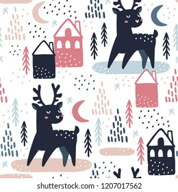 Seamless pattern with  mooses, christmas trees and houses. Great for fabric, textile, wrapping paper. Vector Illustration