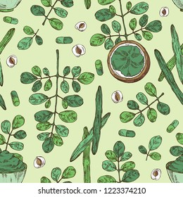 Seamless pattern with moringa: plant, leaves, pill and powder of moringa. Super food. Vector hand drawn illustration.