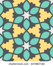Seamless pattern moroccan ornament. Floral textile print. Islamic vector design. Oriental background with abstract flowers. Hexagonal trefoil swatch. Stained glass vitrage.