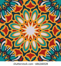 Seamless pattern moroccan ornament. Floral textile print. Islamic vector design. Oriental background with mandalas. Stained glass vitrage.