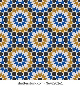 Seamless pattern in Moroccan style. Mosaic tile. Islamic traditional ornament. Geometric background. Vector illustration.