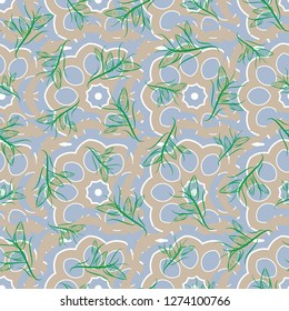 Seamless pattern morrocan ornament. Floral textile print. Yellow, blue and green stained glass vitrage. Islamic vector oriental background with abstract flowers.
