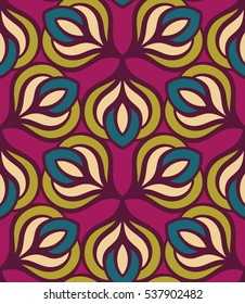 Seamless pattern morrocan ornament. Floral textile print. Islamic vector design. Oriental background with abstract flowers. Hexagonal trefoil swatch. Stained glass vitrage.