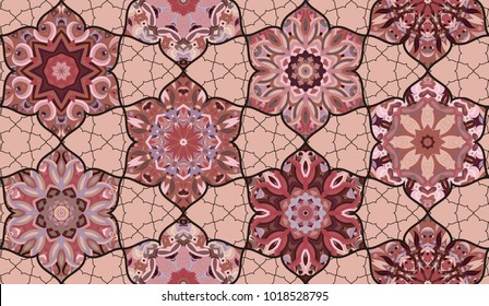 Seamless pattern morrocan vitrage ornament. Floral textile print. Islamic vector design. Oriental background with abstract flowers. Stained glass vitrage.