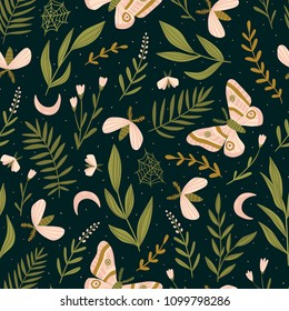 Seamless pattern with moths and night butterfly. Beautiful romantic print. Dark botanical design. Vector illustration.
