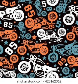 Seamless pattern with motorcycles drawings.  Color print on a black background