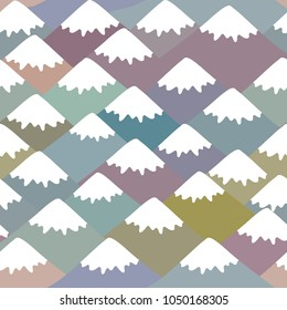 Seamless pattern Mount, Nature background with Mountain landscape. Gray, pink, blue navy mountain with snow-capped peaks. Vector