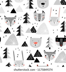 Seamless pattern with a mountain landscape and forest animals. Perfect for cards, invitations, wallpaper, banners, kindergarten, baby shower, children room decoration. Scandinavian landscape.