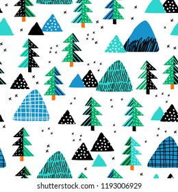 Seamless pattern with a mountain landscape and forest. Perfect for cards, invitations, wallpaper, banners, kindergarten, baby shower, children room decoration. Scandinavian landscape.