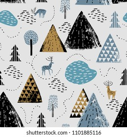 Seamless pattern with a mountain landscape, raindeer and forest. Perfect for cards, invitations, wallpaper, banners, kindergarten, baby shower, children room decoration. Scandinavian landscape.