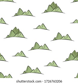 Seamless pattern with mountains. Randomly placed green mountains. Hand drawn style vector illustration for invitations, prints, wrapping paper, greeting cards, wallpaper or decoration
