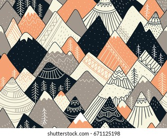Seamless pattern with mountains in scandinavian style. Decorative background with landscape. Hand drawn ornaments.