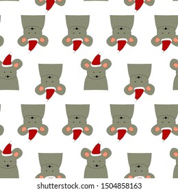 Seamless pattern with mouse in Santa's hat. Rat is a symbol of New Year 2020. Art for children illustration, holiday packing.
