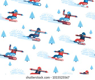 Seamless pattern with moving snowboarders and firs in a flat style. Enabled in the swatches panel.