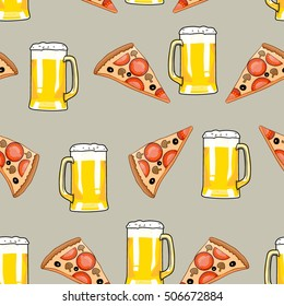 Seamless pattern mug of beer and pizza slice. Bar card. Alcohol party background. Cartoon style. Hand drawing beer and pizza. Vector illustration food and drink. Beer background. Pizza background.