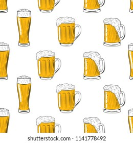 Seamless pattern mugs and glass of beer. Hand drawing for menu, Oktoberfest Festival, beer poster, bar card. Vector.