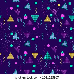 Seamless pattern with multicolor geometric shapes on dark background. retro vintage abstract art print. fashion 80s-90s. memphis style design. Wallpaper, cloth design, fabric, paper, textile.