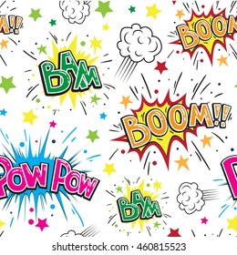 Seamless pattern with multicolored comic sound effects