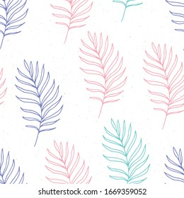 Seamless pattern of multi-colored contours of palm leaves on a white background, vector illustration.