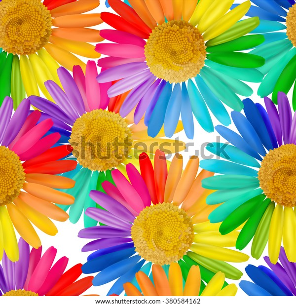 Seamless pattern with multicolored daisy, chamomile flowers. Vector illustration. EPS10.