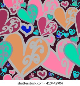 Seamless pattern. Multicolored heart with swirls on a very dark pink background. For printing on packaging, bags, cups, laptop, furniture, fabric etc. Vector.