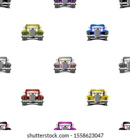 Seamless pattern. Multicolored old cars located staggered EPS10