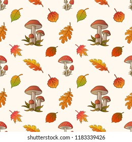 Seamless pattern with mushrooms and autumn leaves in Orange, Beige, Brown and Yellow colors. Seamless hand drawn pattern, gift paper, pattern fills, web page background, autumn greeting card.