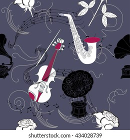 Seamless pattern with music instruments, flowers  and gramophone.Hand drawn sketches old record player. Vector illustration