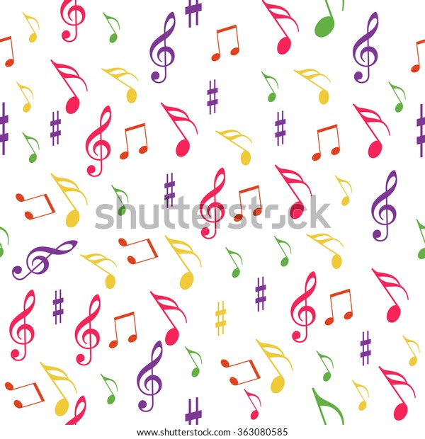 Seamless Pattern Music Melody Song On Stock Vector (Royalty