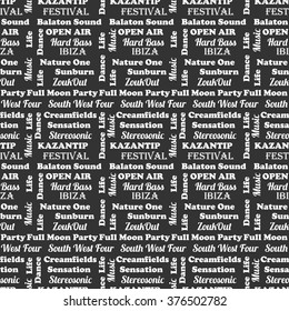 Seamless pattern of music and words  on a beautiful background. Eurovision