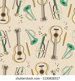 seamless pattern with musical instruments,guitar, violin, flute, trumpet,cartoon hand drawn vector illustration.
