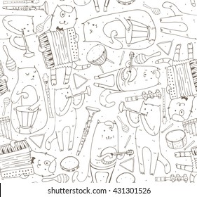 Seamless pattern with musician cats and music instruments. Cats are playing on drum, accordion, tube, guitar. Vector handdrawn illustration, cute, black and white. Kind child cartoon for kids products