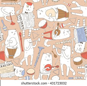 Seamless pattern with musician cats and music instruments in pastel colors. Cats are playing on drum, accordion, tube, guitar. Vector handdrawn illustration, cute. Kind child cartoon for kids products