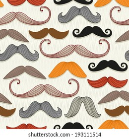 Seamless pattern with a mustache.