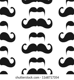 seamless pattern with mustache in memphis style