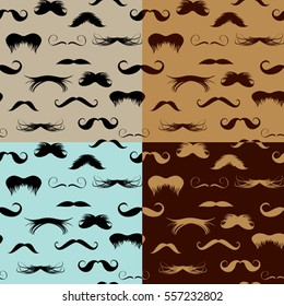 Seamless pattern with mustache on different colors backgrounds. Design elements in vintage, retro, hipster style.