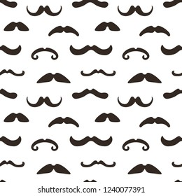 Seamless pattern with mustache on white background. Design elements in vintage, retro, hipster style.