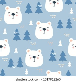 Seamless pattern, muzzles of bears, fir-trees, hand drawn overlapping backdrop. Colorful background vector. Illustration with animals. Decorative wallpaper, good for printing